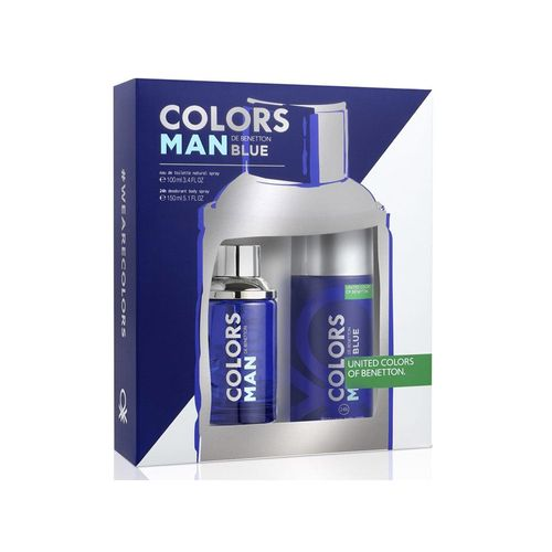 8433982012631--Kit-Benetton-Colors-Man-Blue-Eau-de-Toilette-Masculino---EDT-100-ml---Body-Spray-24h---150-ml